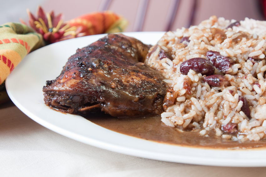 jerk chicken with rice and beans