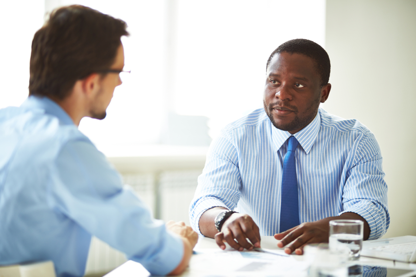 african-american man interviewing for job