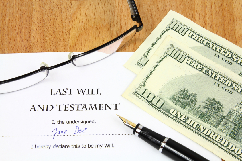 Last will and testament with cash