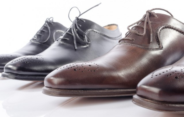 Luxury brown and black shoes, leather