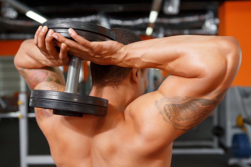 dumbbells, triceps extension, weights