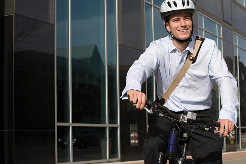 a man biking to work