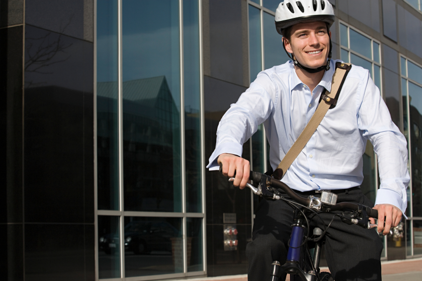 A man commutes on his bicycle