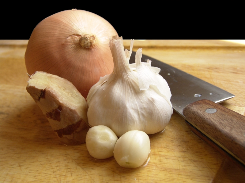 onion, garlic, ginger