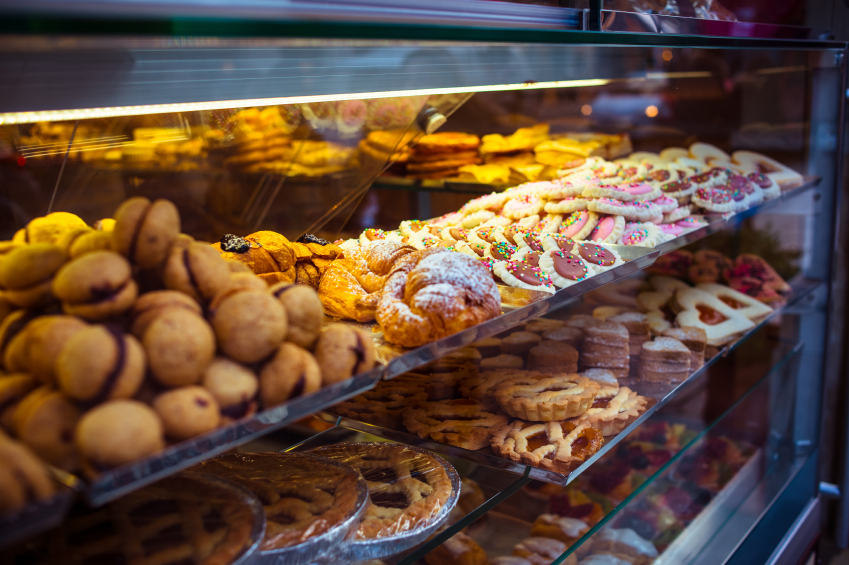 baked goods, pastry case