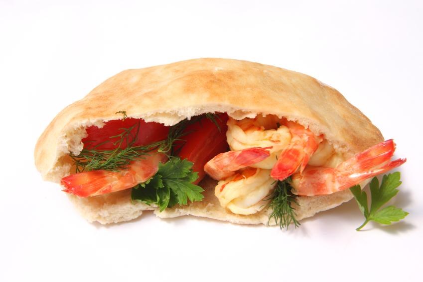 gyro, pita, shrimp