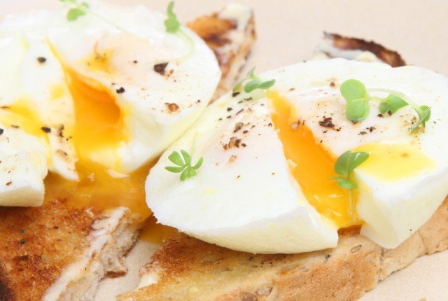 close-up of poached eggs