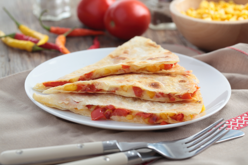 Quesadilla with tomato and cheese