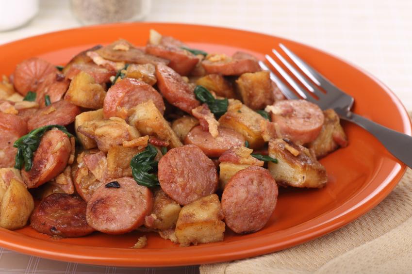 kielbasa, potatoes, sausage