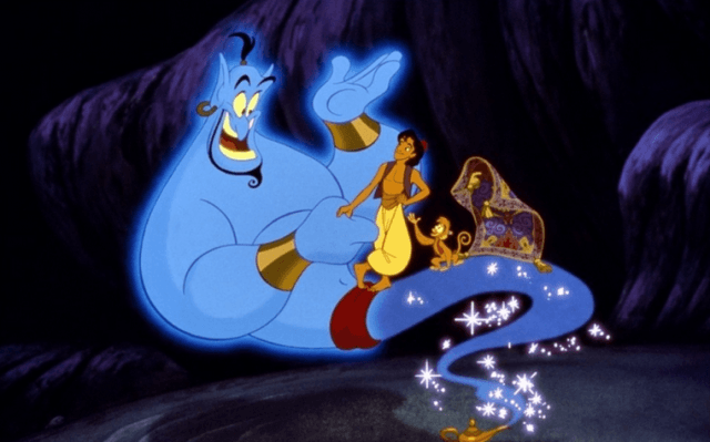 Aladdin and his friends talk to the Genie.