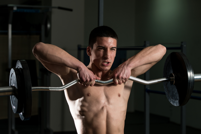 standing row, traps, barbell