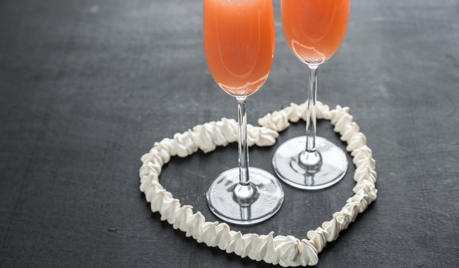 Two berry bellini cocktails