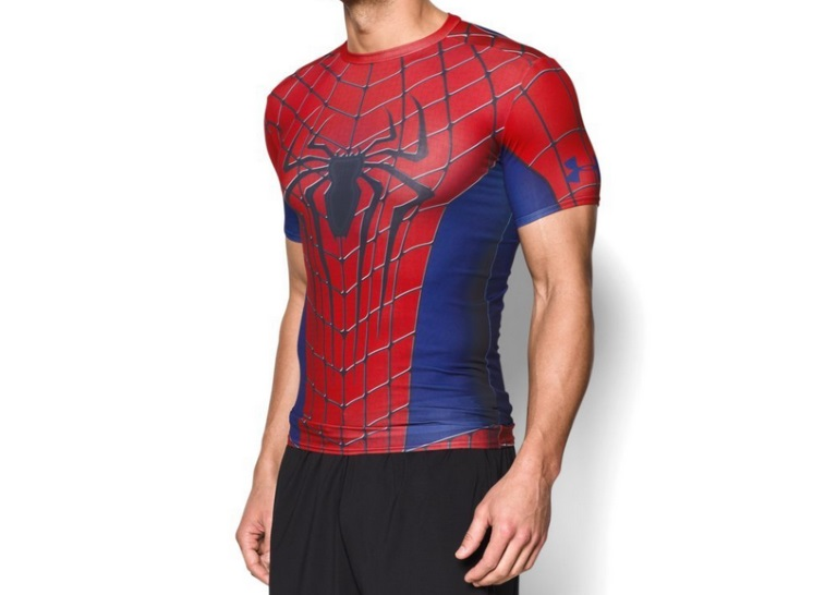 An Under Armour Spiderman shirt -- perfect for a job interview