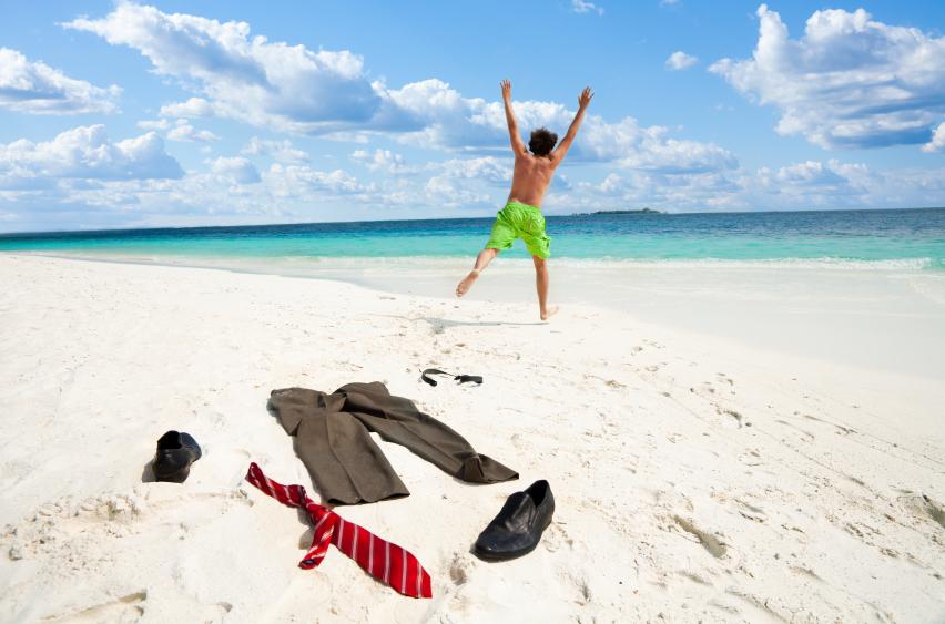 a man enjoying retirement on a beach