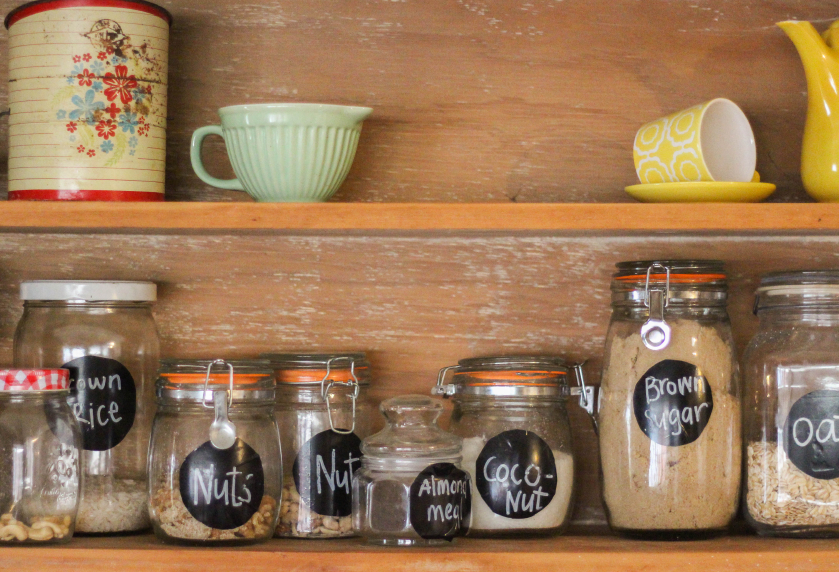 A variety of household items in a pantry