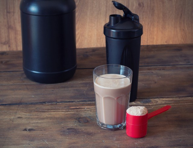 protein shake in a glass