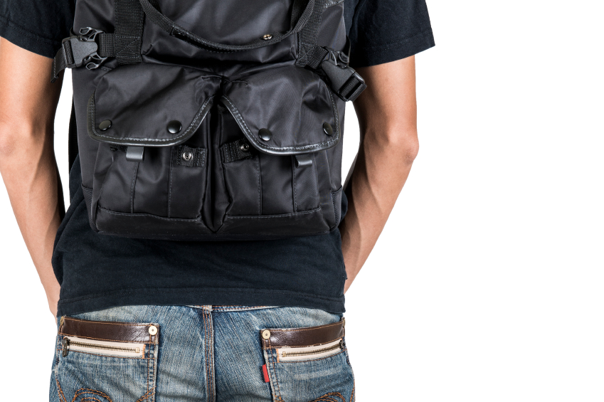 backpack, clothes