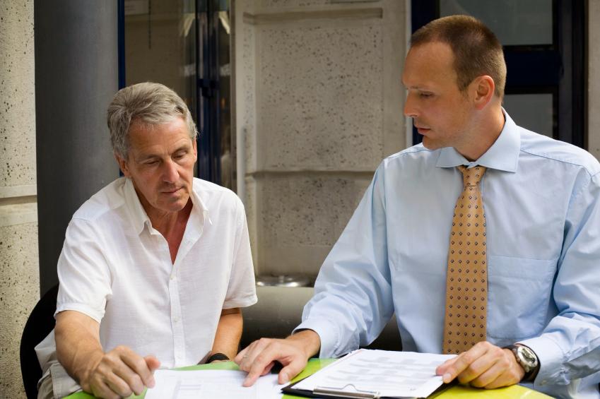 Employee and boss talking