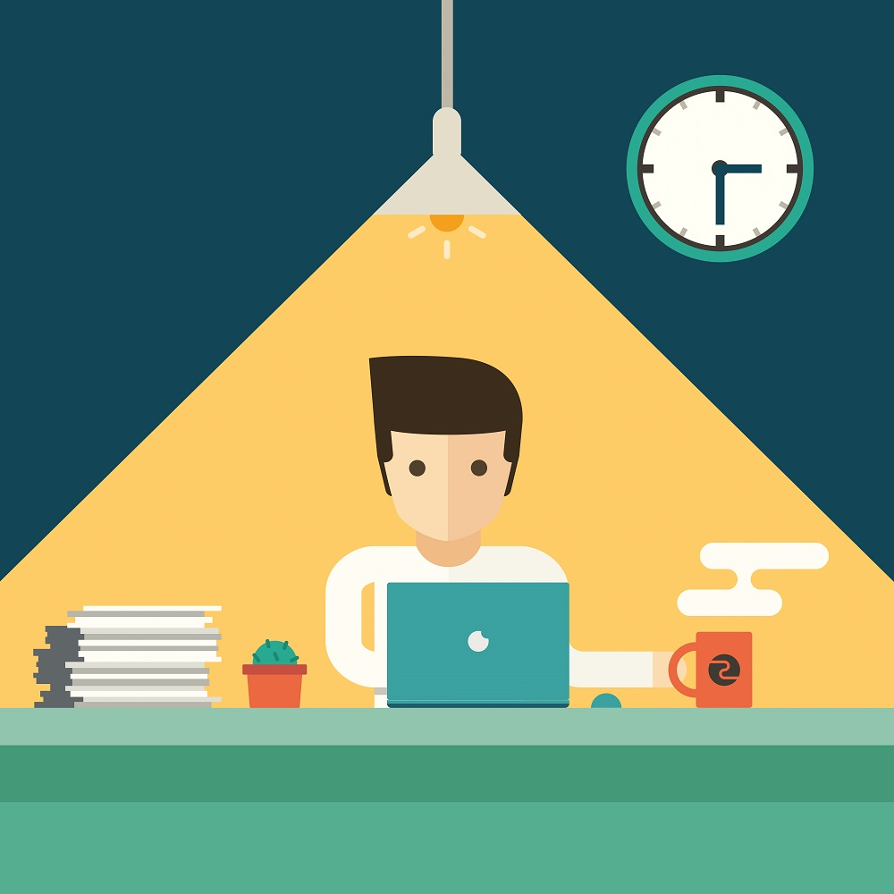 Illustration of a worker going at it long after quitting time