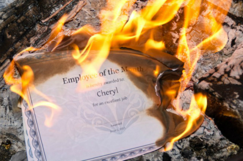 employee of the month certificate on fire