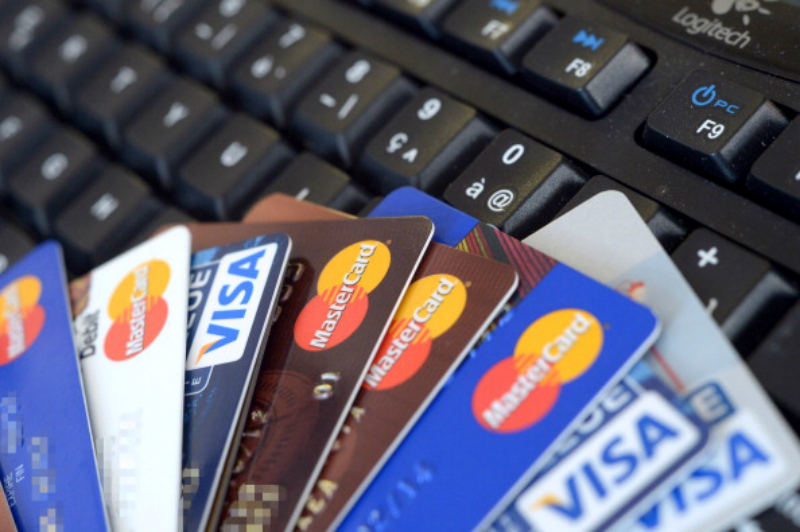 Credit cards on a keyboard