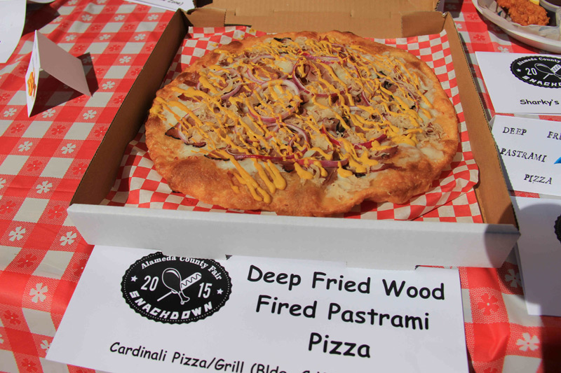 deep fried wood fired pastrami pizza