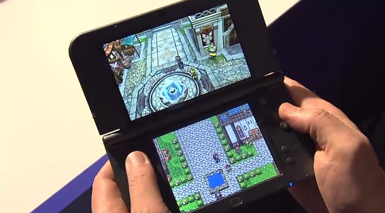 Someone playing Dragon Quest XI on a Nintendo 3DS.