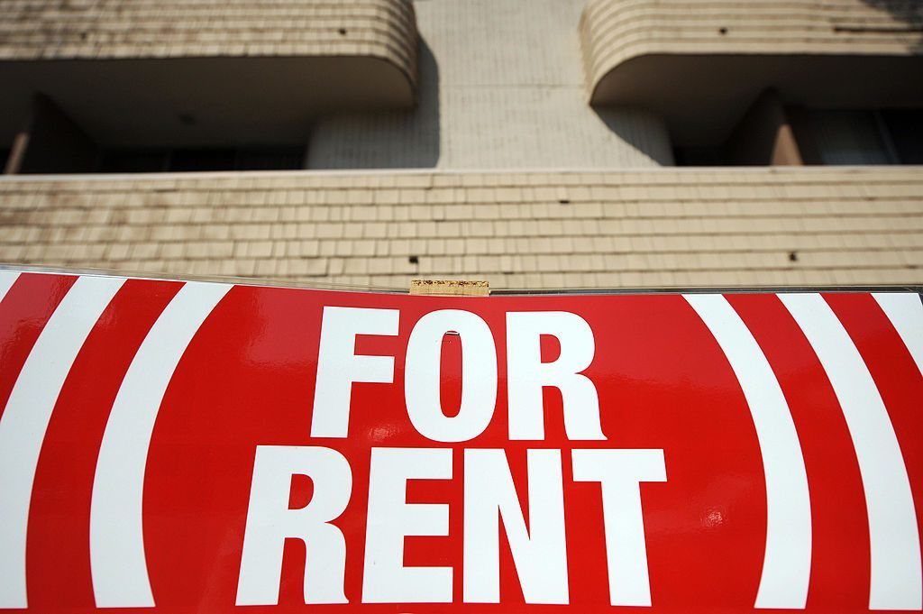 """a """"for rent"""" sign"""