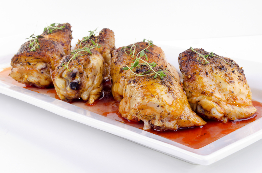 Cooked chicken with herbs