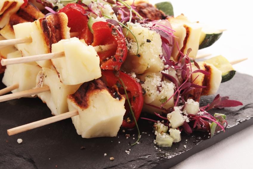 halloumi and vegetable kebabs