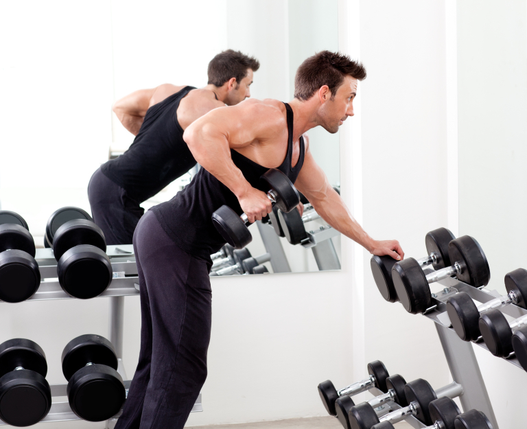 weights, triceps kick back