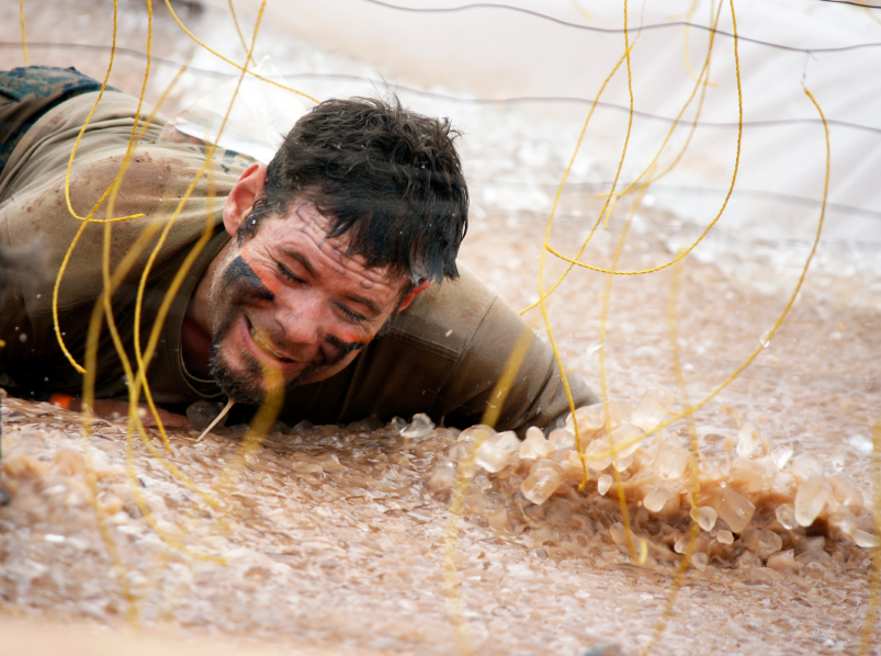 Man struggling through the muck