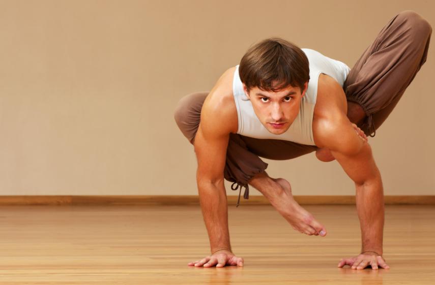 man doing yoga, exercise