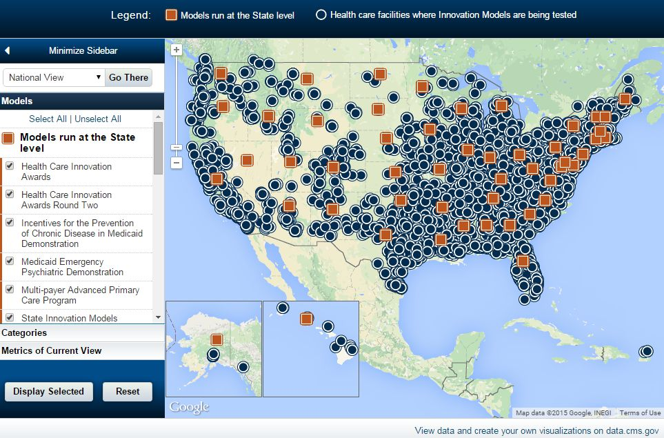 National map of health care innovation projects (Source: CMS.gov, 2015)