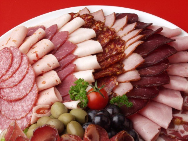 Assorted deli meats on a platter