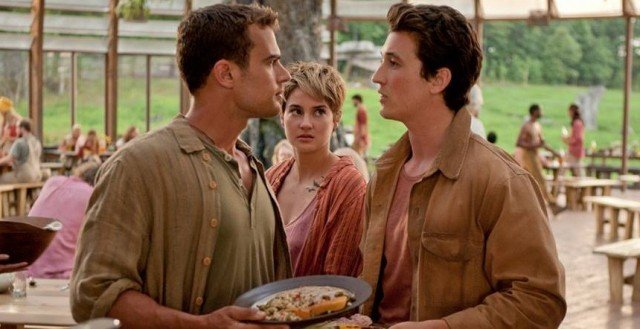 Theo James, Shailene Woodley and Miles Teller in 'The Divergent Series: Insurgent.'