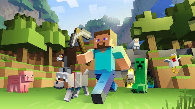 The hero of Minecraft marches through a blocky world with a pick ax.