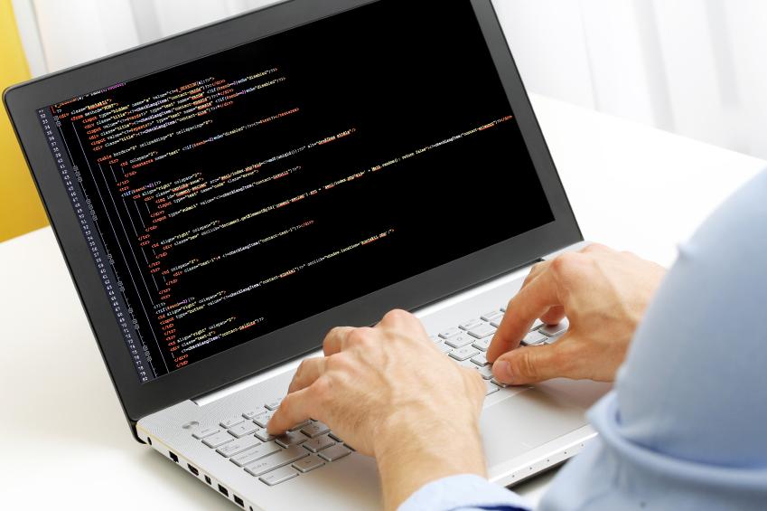 A man programming