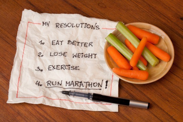 Healthy resolutions written on a piece of paper