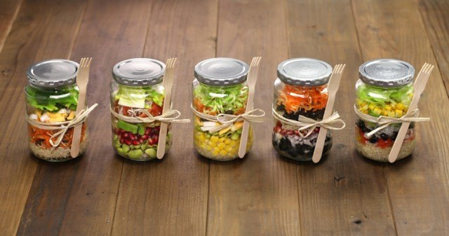 Salads in a jar are perfect for easy storage and taking on-the-go