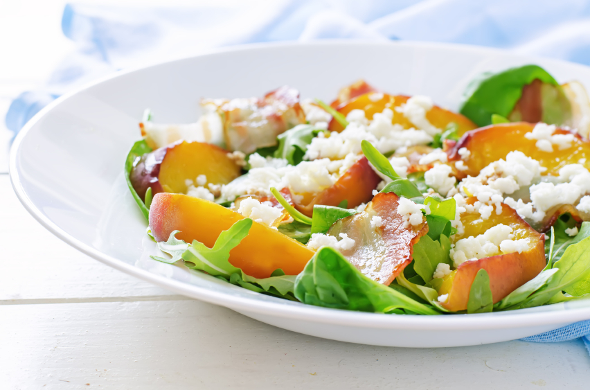 peach salad, cheese