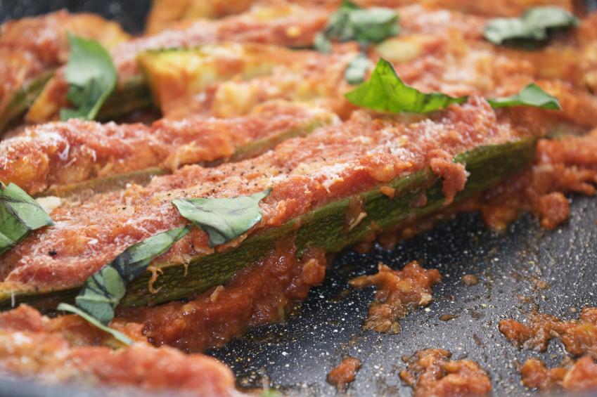 zucchini, tomato sauce, basil
