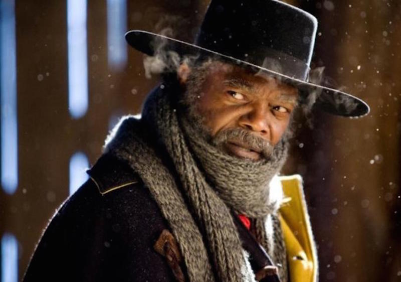 Samuel L. Jackson wears a hat and scarf in the snow