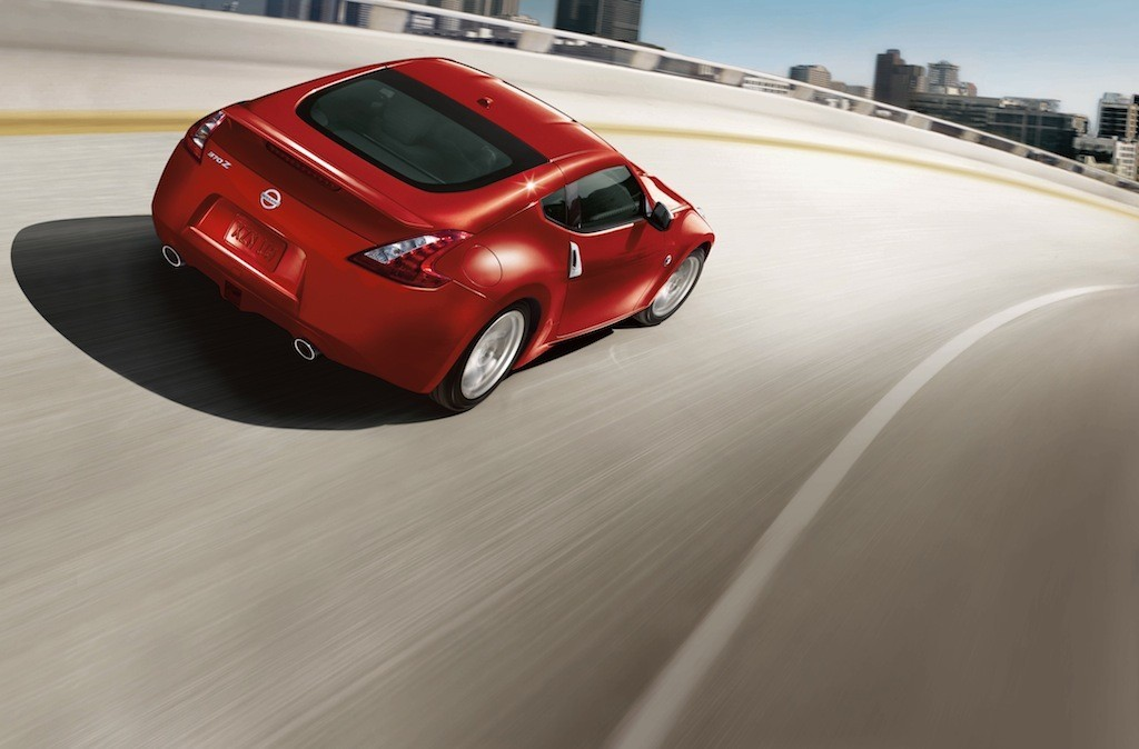 Rear view of red Nissan 370Z