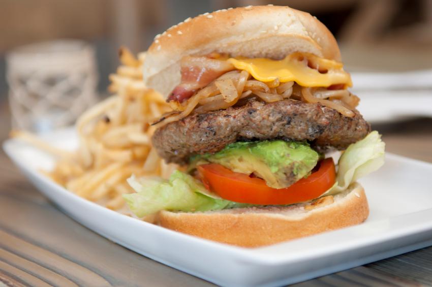 bacon cheeseburger, avocado, lettuce, tomato