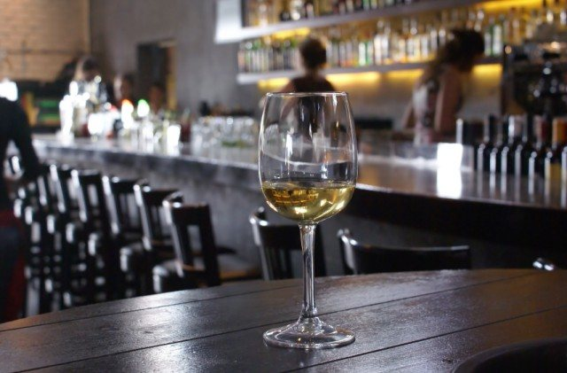 White wine on a table