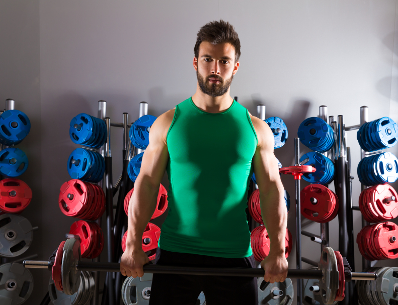 Man holding a barbell