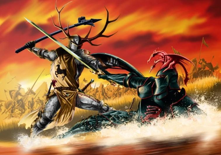 Robert Baratheon swings a hammer at Rhaegar, who's fallen into a river