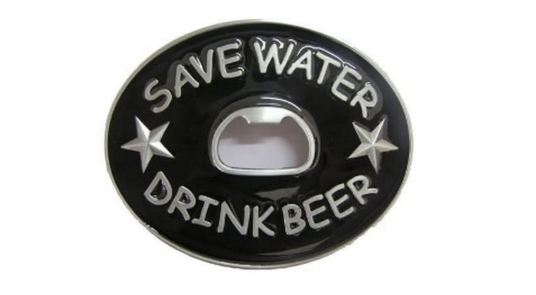 Save Water Drink Beer Bottle Opener Belt Buckle
