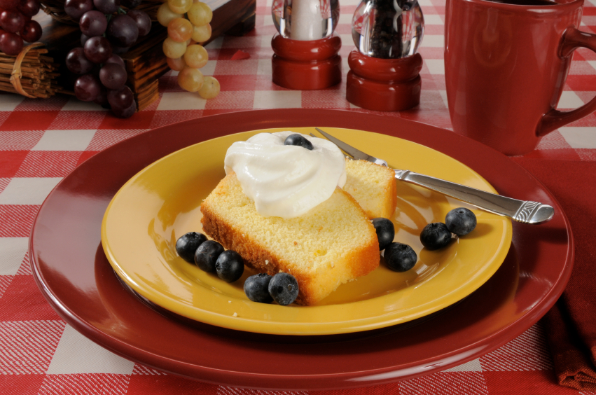 pound cake, berries, whipped cream
